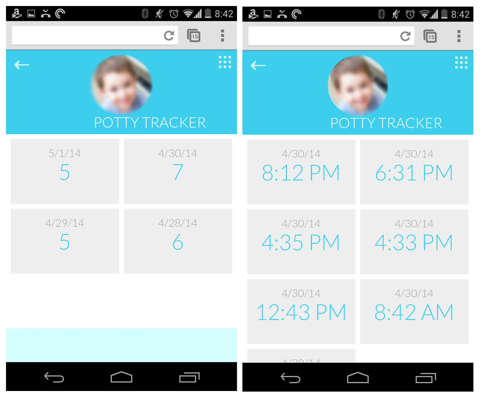 overview and detail screens of potty tracking app